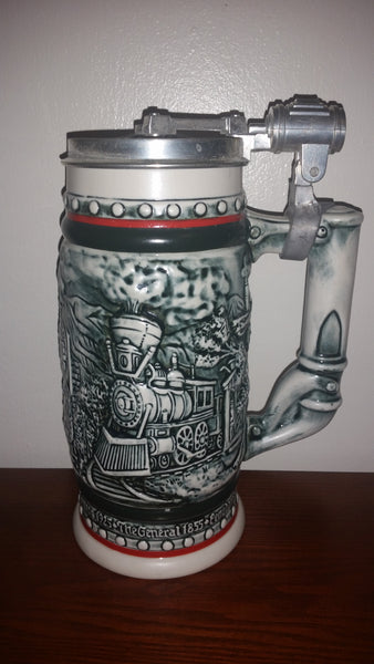 1982 Avon Age of The Iron Horse Railroad Locomotive Train Engine Lidded Beer Stein - Treasure Valley Antiques & Collectibles