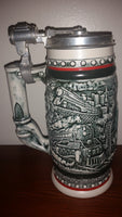 1982 Avon Age of The Iron Horse Railroad Locomotive Train Engine Lidded Beer Stein