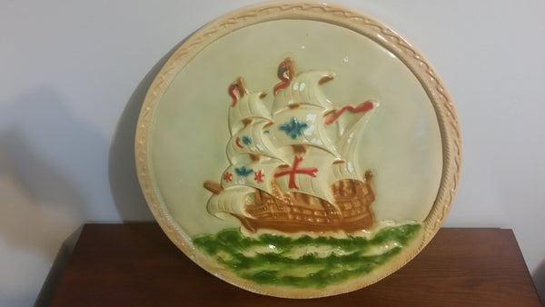Lovely Antique Tall Ship Chalkware Wall Hanging Decor - Treasure Valley Antiques & Collectibles