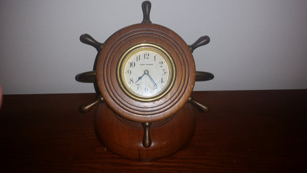 Antique Ship Wheel New Haven Nautical Desk Clock - Treasure Valley Antiques & Collectibles