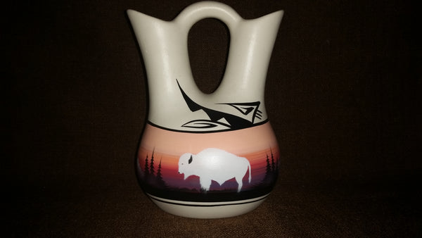 Vintage Navajo Wedding Vase Gift Buffalo Mountain Valley Signed Enbik Dineh - Treasure Valley Antiques & Collectibles