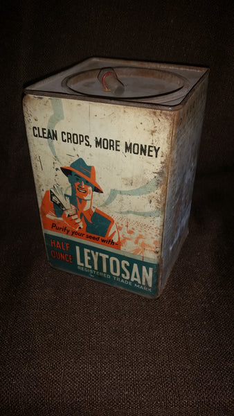 Rare 1940s Leytosan Poison (Mercury) Fungicide Tin for Smut Control in Grain Seeds England - Treasure Valley Antiques & Collectibles