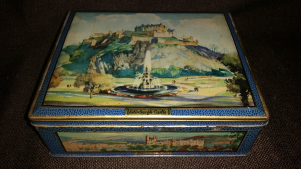 Vintage 1940s Gray and Dunn Biscuits Tin Cookie Tin Depicting Scottish Castles - Treasure Valley Antiques & Collectibles
