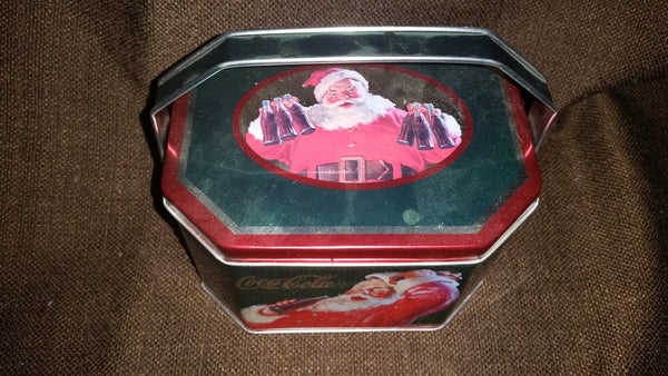 Collectible 2002 Santa Holiday Joy Zellers Coca Cola Coke Tin Box with Handles - Treasure Valley Antiques & Collectibles