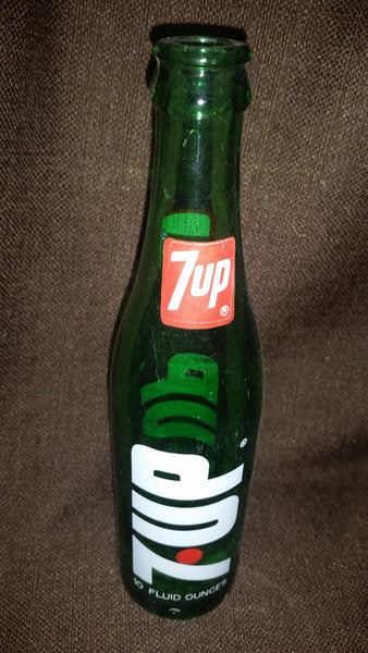 Vintage 1970s 7up 10 Fluid Ounces Green Glass Bottle in Great Condition - Treasure Valley Antiques & Collectibles