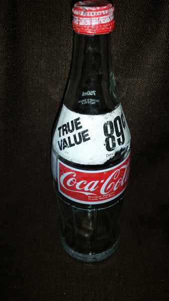 Vintage Late 70s Early 80s 750 mL Glass Coke Coca-Cola Bottle English French with Cap - Treasure Valley Antiques & Collectibles
