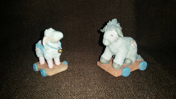 Cherished Teddies Sheep/Donkey Pull-Toy Nativity Figurines 1993 #912867 In Box - Treasure Valley Antiques & Collectibles