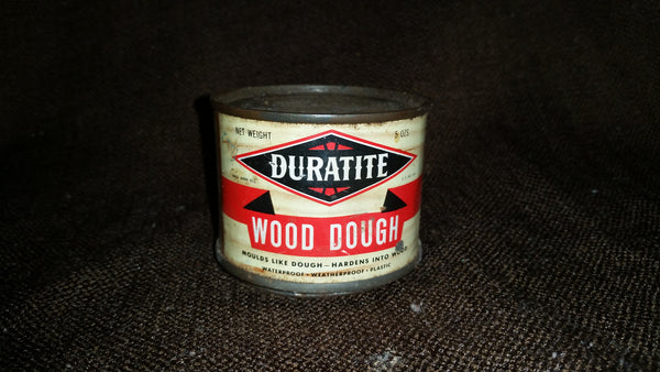Vintage Rare Find 1950s Duratite Webb Products Company Wood Dough Tin Can Empty - Treasure Valley Antiques & Collectibles