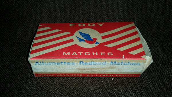 Vintage 1960-70s Eddy Redbird Matches Cardboard Advertising Empty Box Center Logo - Treasure Valley Antiques & Collectibles