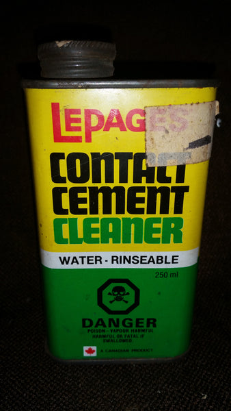 Vintage 1960-70s LePage Contact Cement Cleaner Tin (approx half full) - Treasure Valley Antiques & Collectibles