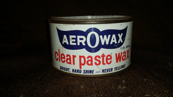 Vintage 1950s AerOwax Clear Paste Wax 1lb 454g Full Tin Container English French - Treasure Valley Antiques & Collectibles