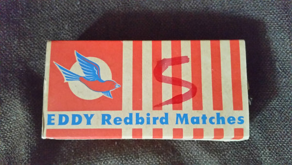 Vintage 1960-70s Eddy Redbird Matches Cardboard Advertising Empty Box Left Logo 5 Written - Treasure Valley Antiques & Collectibles