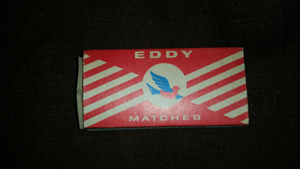 Vintage 1960-70s Eddy Redbird Strike Anywhere Matches Cardboard Advertising Empty Box Center Logo - Treasure Valley Antiques & Collectibles