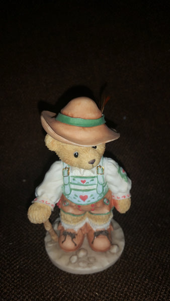 "Cherished Teddies Boy With Back Pack Figurine Germany ""Our Friendship Know No Boundaries"" - Treasure Valley Antiques & Collectibles"
