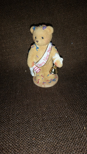 "Cherished Teddies Happy New Year Figurine Newton ""Ringing In The New Year With Cheer"" - Treasure Valley Antiques & Collectibles"