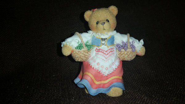 "Cherished Teddies Girl With Grapes Figurine Sophia from Italy ""Our Friendship Is Divine"" - Treasure Valley Antiques & Collectibles"