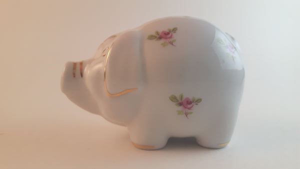 Rare Handmade RGK Porcelain Pig with Floral Decor and Gold Trim Leander 1946 Boheme Czech Republic - Treasure Valley Antiques & Collectibles