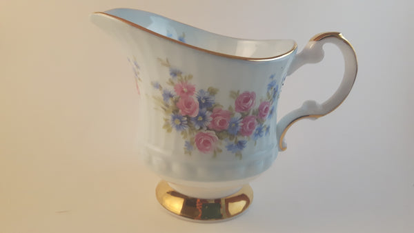 Vintage Elizabethan Fine Bone China England Creamer Baby Blue with Blue & Pink Floral - Treasure Valley Antiques & Collectibles