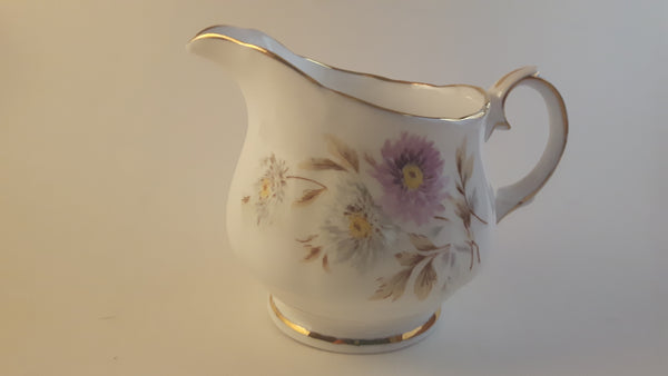 Vintage 1950s Duchess Bone China Creamer Gold Trimmed Purple and White Floral Decor - Treasure Valley Antiques & Collectibles