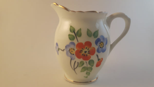 Antique 1930s Hand Painted Delphine Bone China Creamer Gold Trimmed with Floral Decor - Treasure Valley Antiques & Collectibles