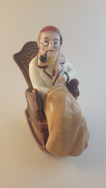 Vintage Norcrest Grandpa with Pipe in Rocking Chair Salt or Pepper Shaker Japan - Treasure Valley Antiques & Collectibles