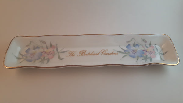 Vintage Butchart Gardens Fine Bone China England Mints Celery Olive Trinket Dish Tray - Treasure Valley Antiques & Collectibles