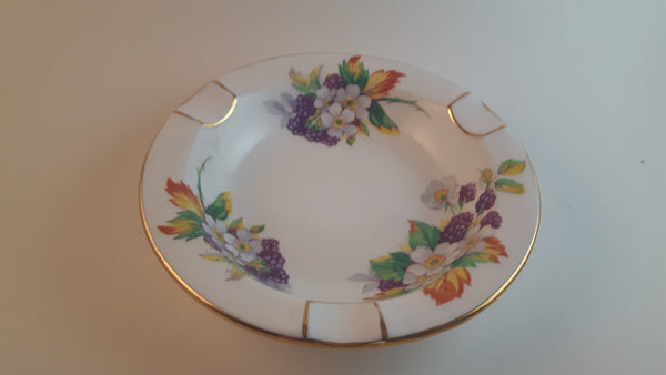 1960s Royal Chelsea Bone China Ash Tray with Floral Decor and Gold Trim Made in England #4647A