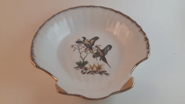 Vintage 50s-60s Scalloped Shell Pheasants Mint Dish with Gold Trim Made in Japan - Treasure Valley Antiques & Collectibles