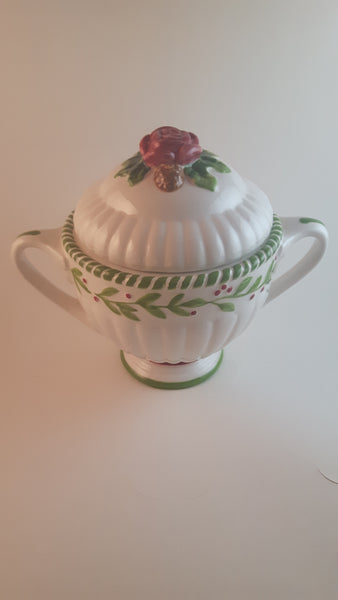 2001 Royal Albert Old Country Roses Seasons of Colour Rose Topped Sugar Bowl - Treasure Valley Antiques & Collectibles