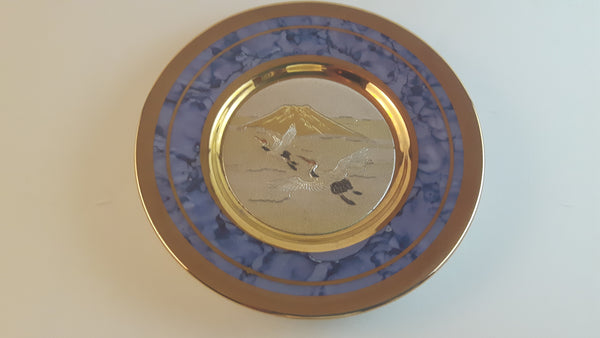 Vintage The Art of Chokin Black Plate 24K Gold Plate Birds Decor - Treasure Valley Antiques & Collectibles