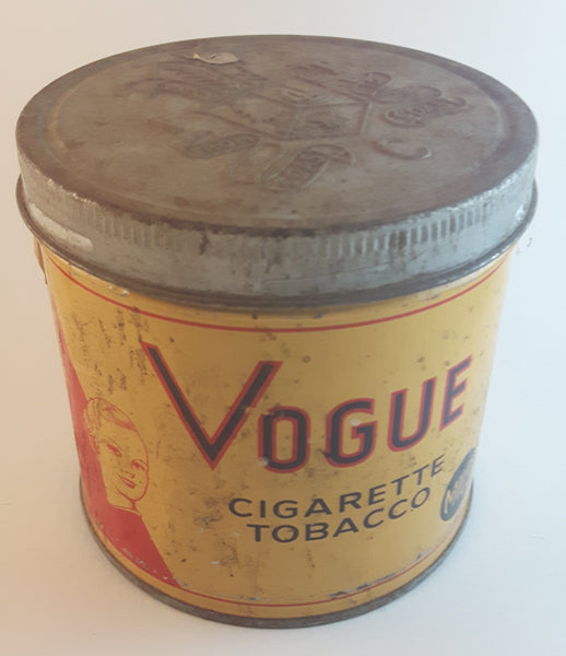 1960s Vogue Mild Cigarette Tobacco Tin with Lid Some Wear - Treasure Valley Antiques & Collectibles