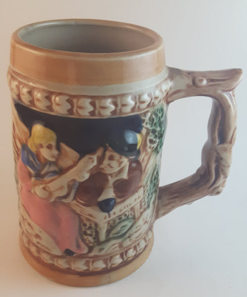 1950s German Oktoberfest Beer Stein Woman Playing Instrument with Man in Hat Made in Japan - Treasure Valley Antiques & Collectibles
