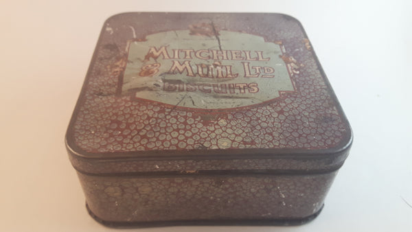 Antique Extremely Rare 1910s Mitchell & Mull Ltd Bakers Aberdeen Scotland Biscuits Tin - Treasure Valley Antiques & Collectibles