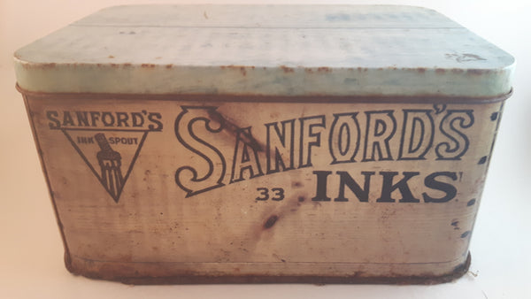 Antique 1920s Sanford's Inks Blue-Black Premium Writing Fluid Tin Chicago - Treasure Valley Antiques & Collectibles