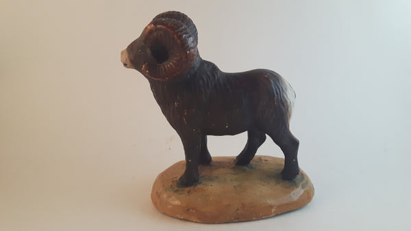 Vintage Ceramic Mounted Ram Figurine Hand Painted - Treasure Valley Antiques & Collectibles