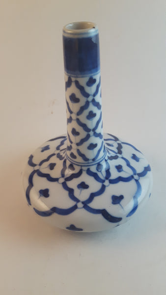 Vintage Blue and White Porcelain Bud Vase from Thailand - Treasure Valley Antiques & Collectibles