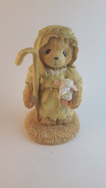"Cherished Teddies Shepherd Figurine Sammy ""Little Lambs Are In My Care"" 1992 #950726 With Box - Treasure Valley Antiques & Collectibles"