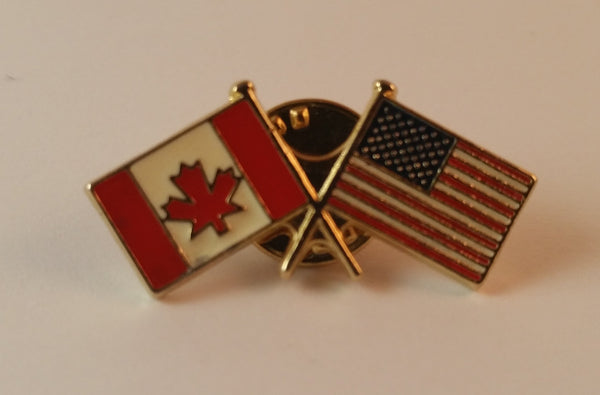 Vintage Enamel Canada USA American Flag Lapel Pin - Treasure Valley Antiques & Collectibles