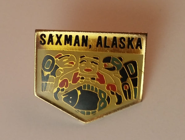 Vintage Saxman Alaska Souvenir Collectible Pin - Treasure Valley Antiques & Collectibles