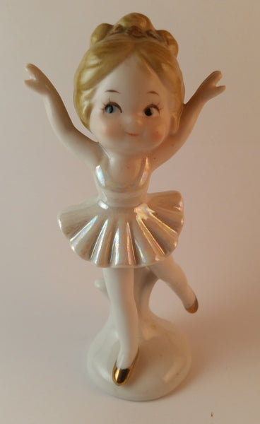 Vintage Porcelain Ceramic Ballerina with Gold Slippers and Hair Bow - Treasure Valley Antiques & Collectibles