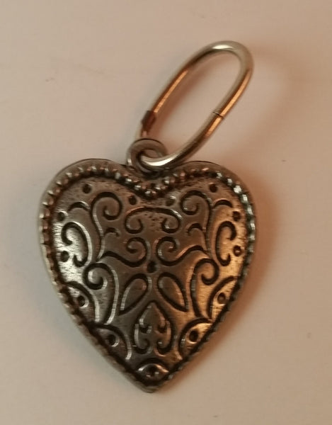 Vintage Etched Heart Silver Look Pendant - Treasure Valley Antiques & Collectibles