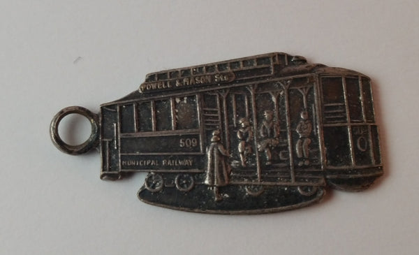 Vintage Powell & Mason Sts 509 Municipal Railway San Francisco California Key Chain Necklace Pendant - Treasure Valley Antiques & Collectibles
