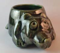 1960s McCoy Pottery USA Green Bear Planter Mold 482
