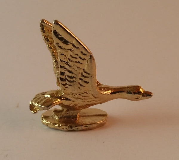 Vintage Miniature Metal Gold-Look Goose Figurine - Treasure Valley Antiques & Collectibles