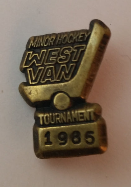 Collectible 1985 West Vancouver Minor Hockey Tournament Pin - Treasure Valley Antiques & Collectibles