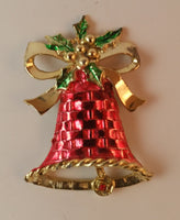 1970s Christmas Bell Ribbon & Holly Brooch Red Gold Green - Treasure Valley Antiques & Collectibles