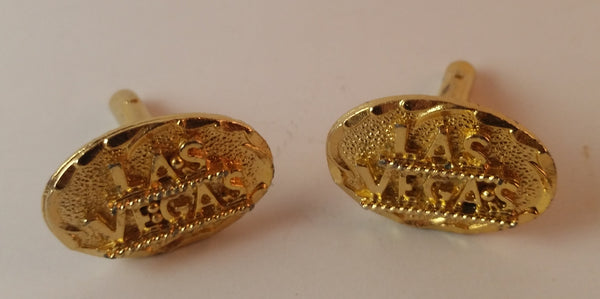 Vintage Gold Tone Las Vegas Cufflinks - Treasure Valley Antiques & Collectibles