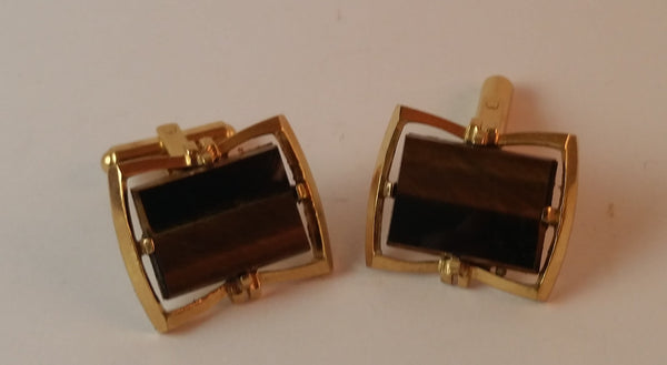 Vintage Brown Smoky Quartz Tone Agate Cufflinks - Treasure Valley Antiques & Collectibles