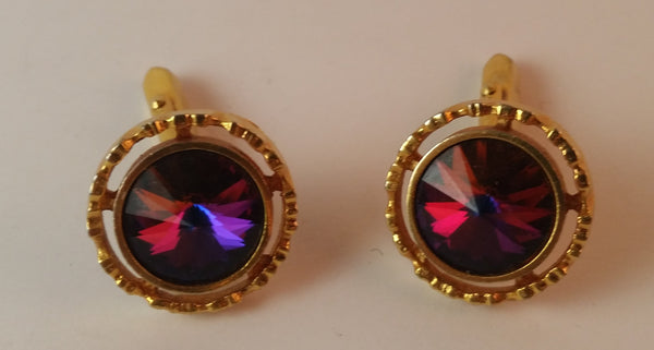 Vintage 1960s Cerise Rivoli Stone Gold Tone Cufflinks - Treasure Valley Antiques & Collectibles