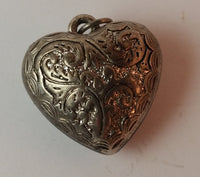 Vintage Hollow Etched Heart Silver Look Pendant. - Treasure Valley Antiques & Collectibles